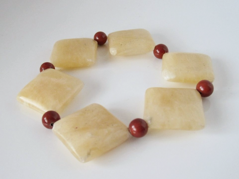 Chunky Golden Yellow Honey Jade & Red Jasper Cuff Bracelet